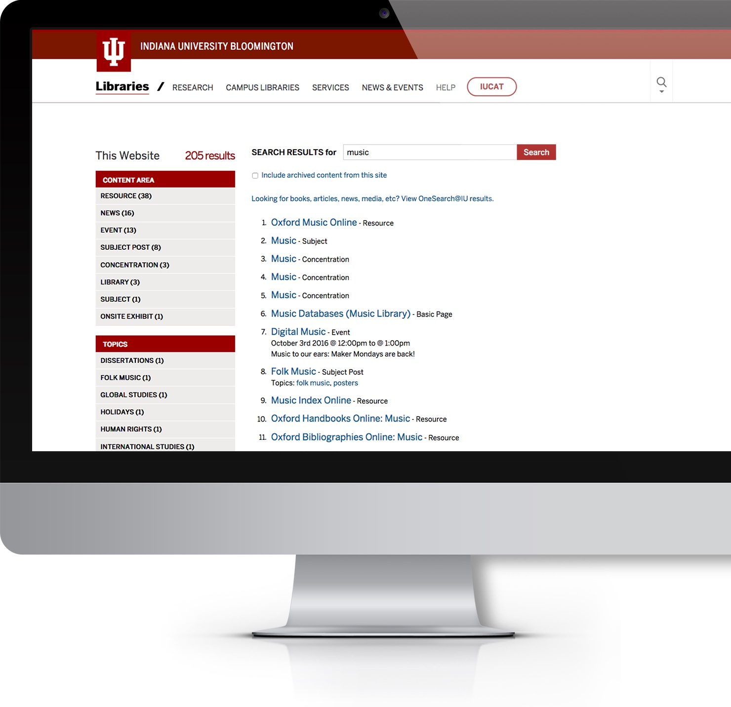 IUL search page on desktop