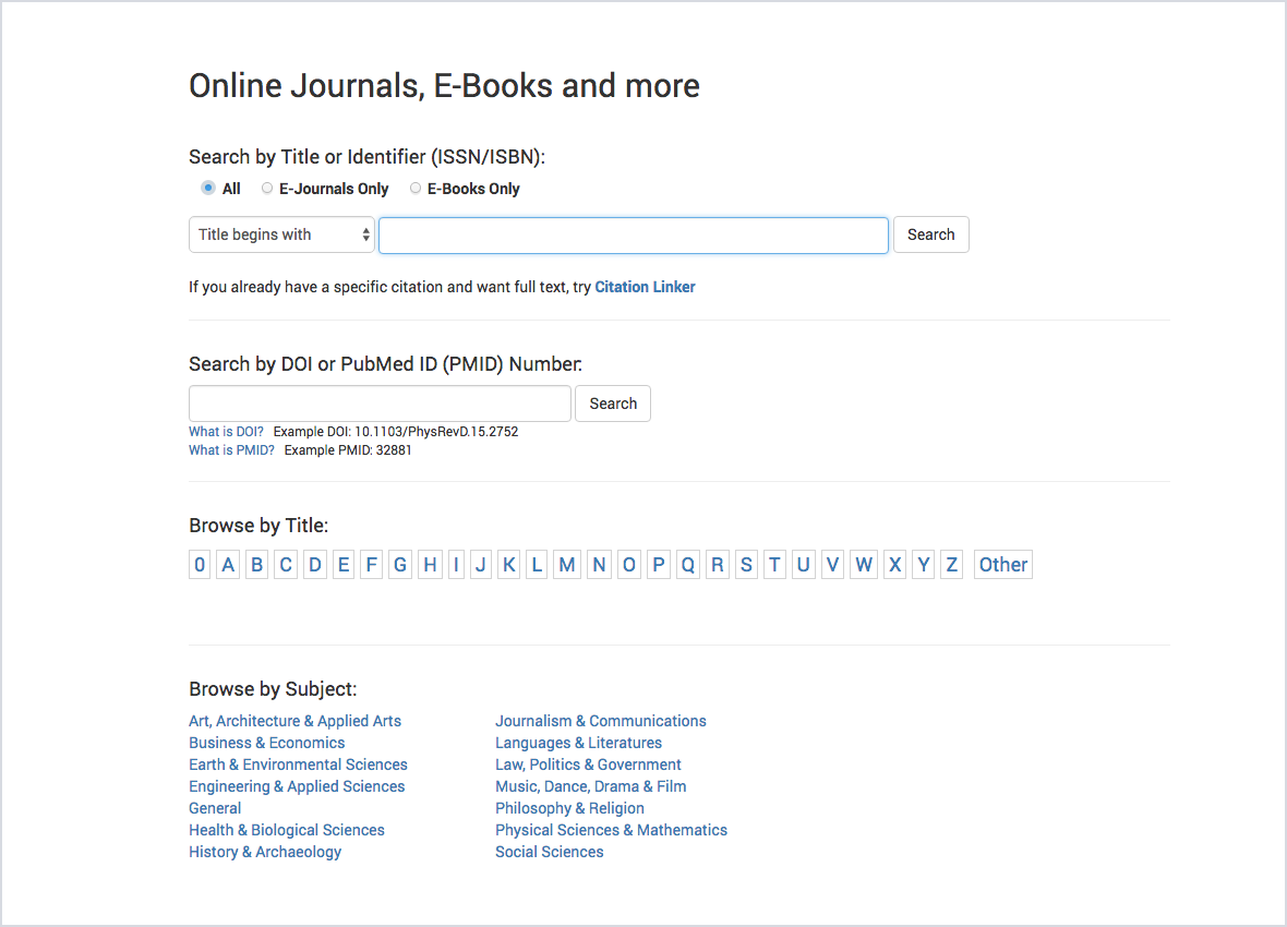 Close up of methods of searching for content on IUL's site