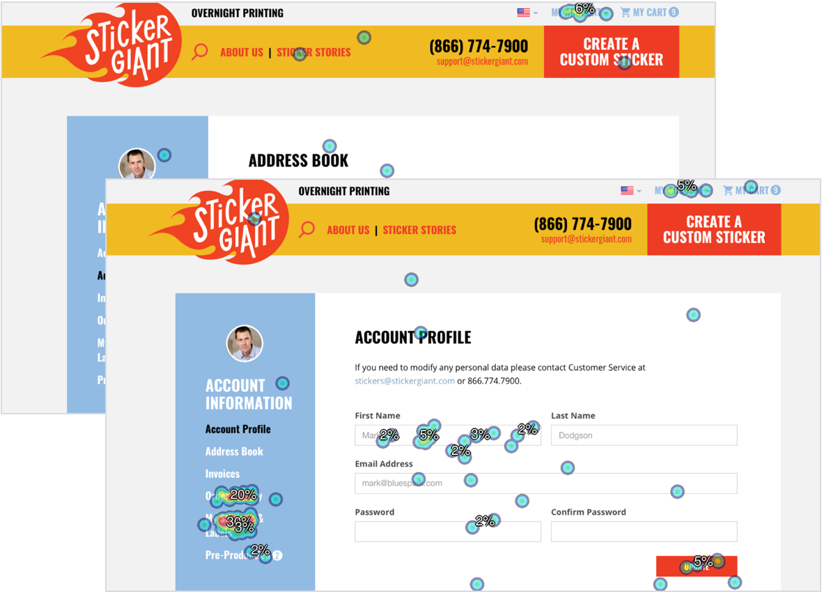 StickerGiant web pages with hot spots from user testing scenarios