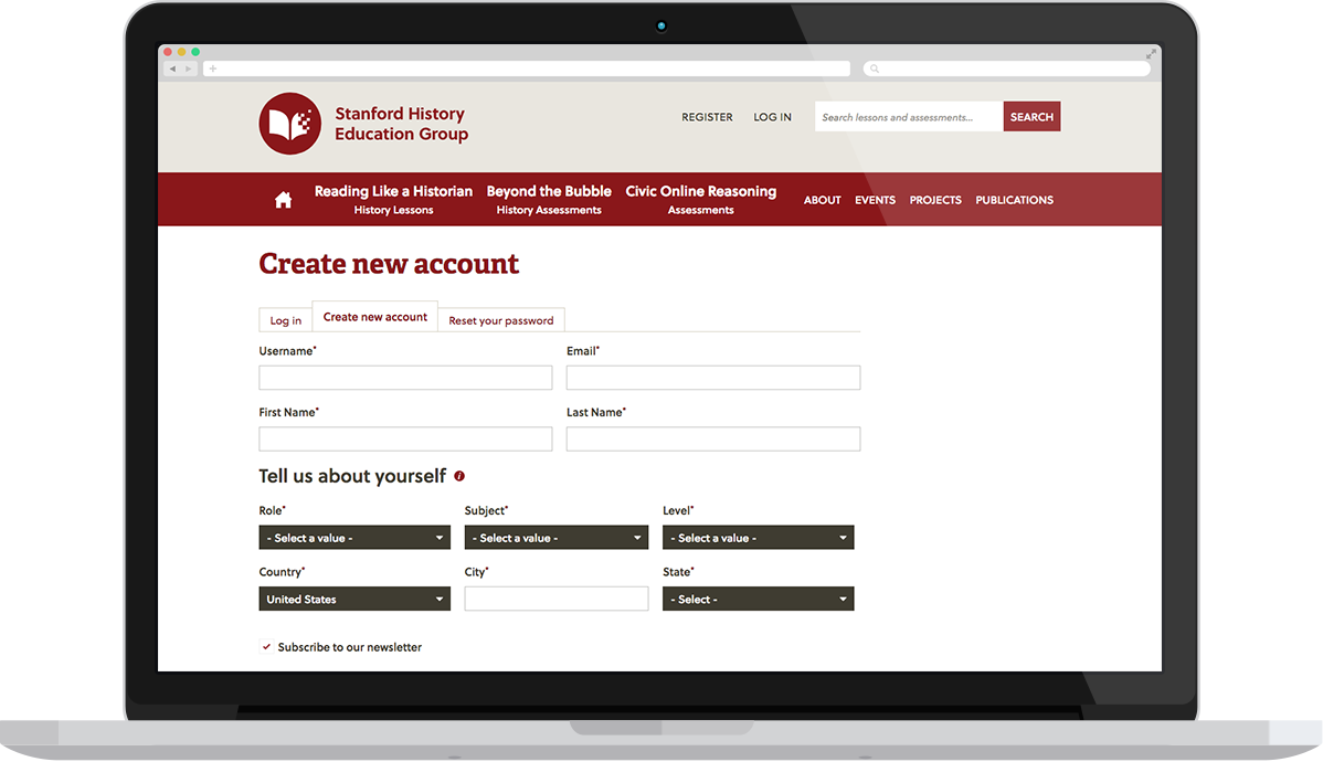 SHEG's registration screen