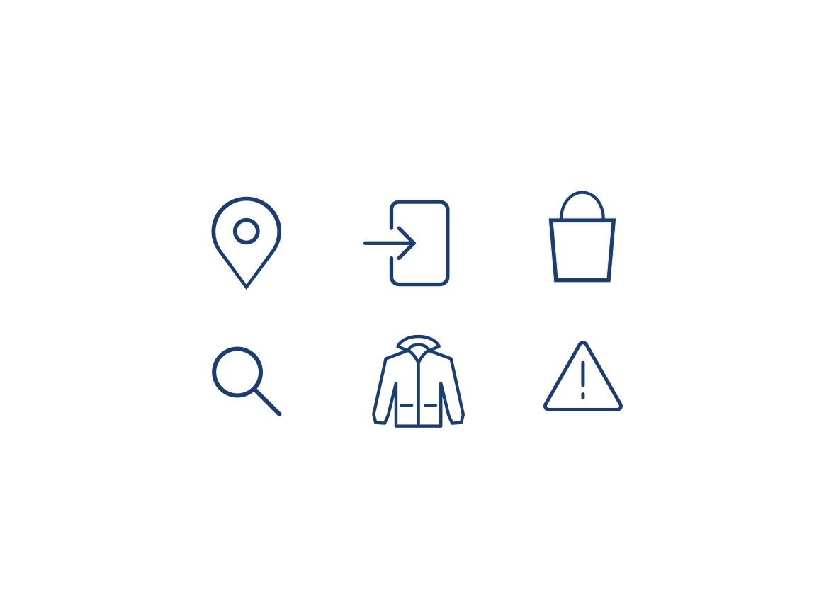 icons representing location, direction, search, error