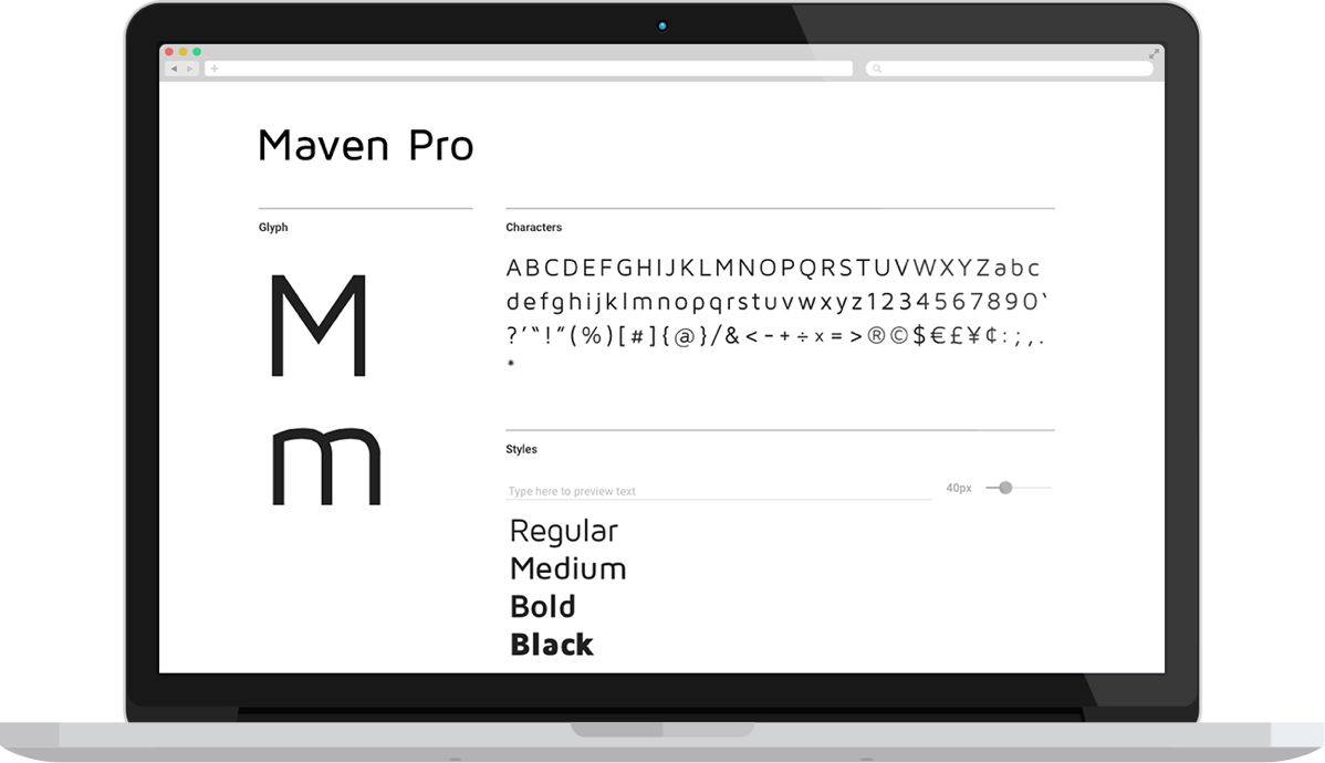 Font example of Maven Pro