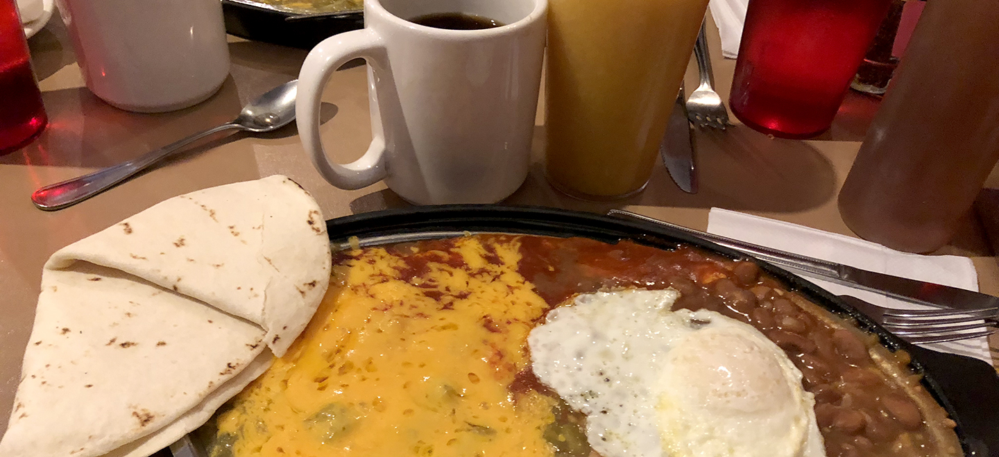 Close up of huevos rancheros