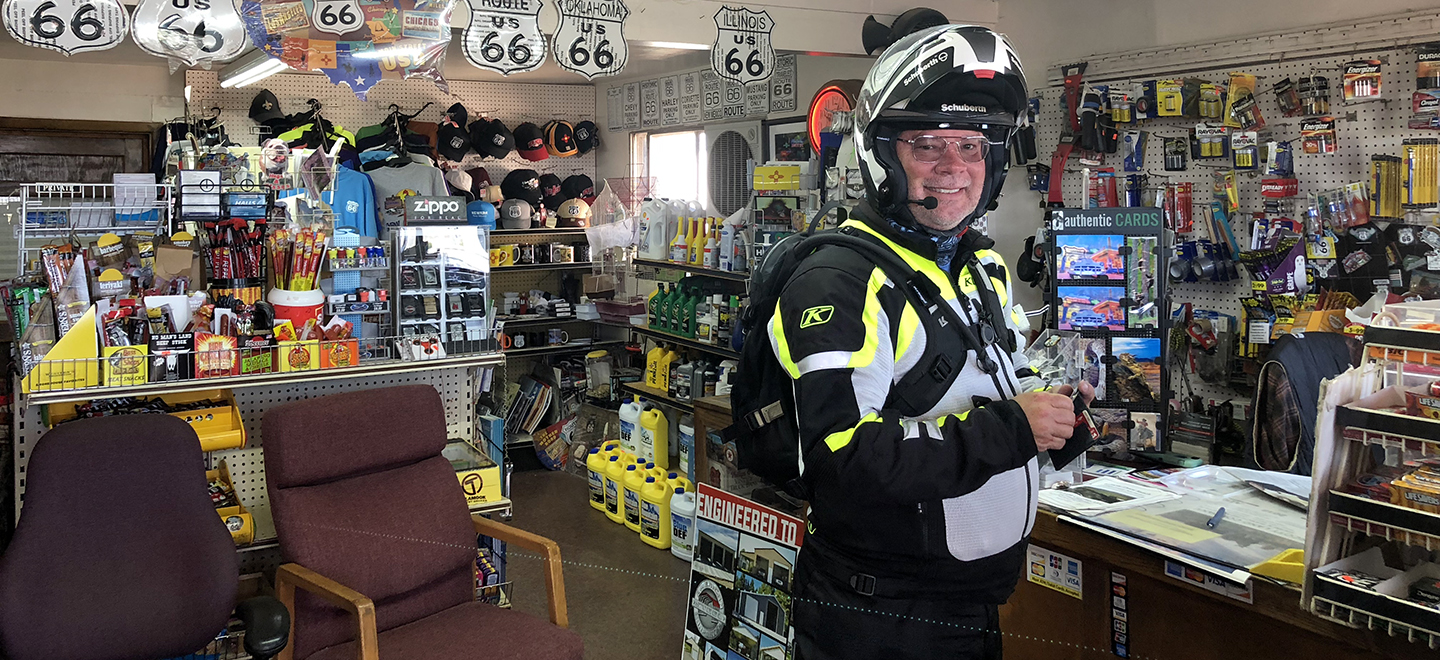 Michael Tucker in his motorcycle gear in Route 66 gas station