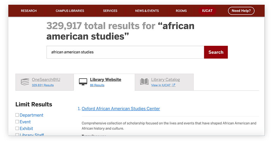 Screenshot of Indiana University Libraries' search results