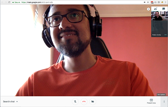 Pablo and Mark meeting on Google Hangouts