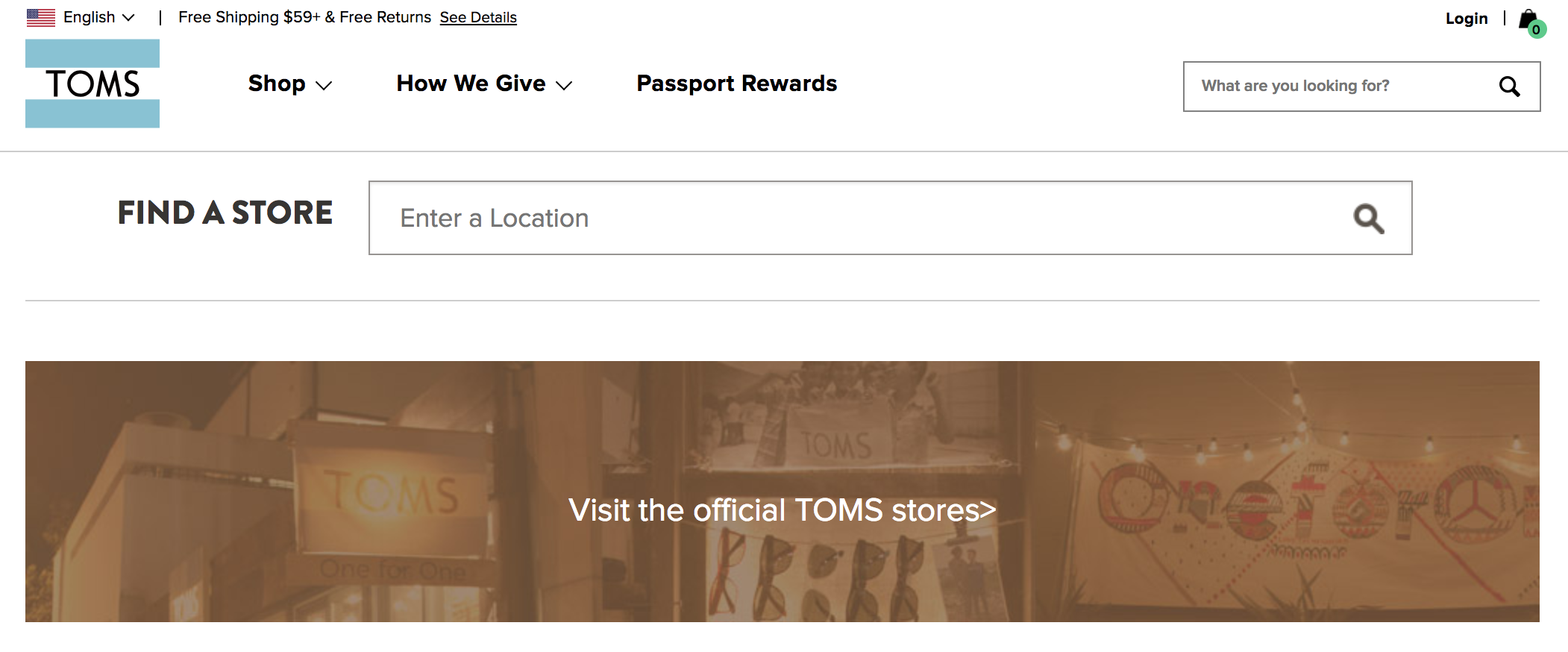 "Screenshot of Toms ""locate a store"" webpage"