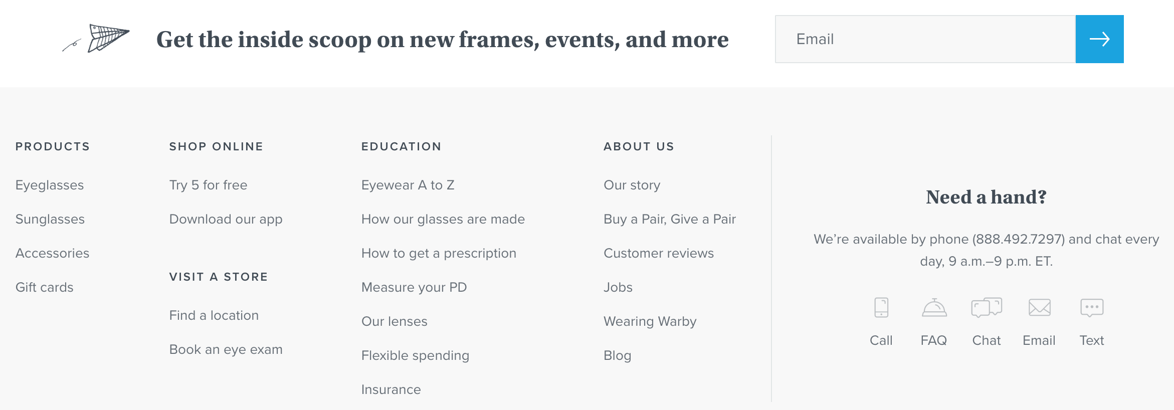 Footer from Warby Parker website