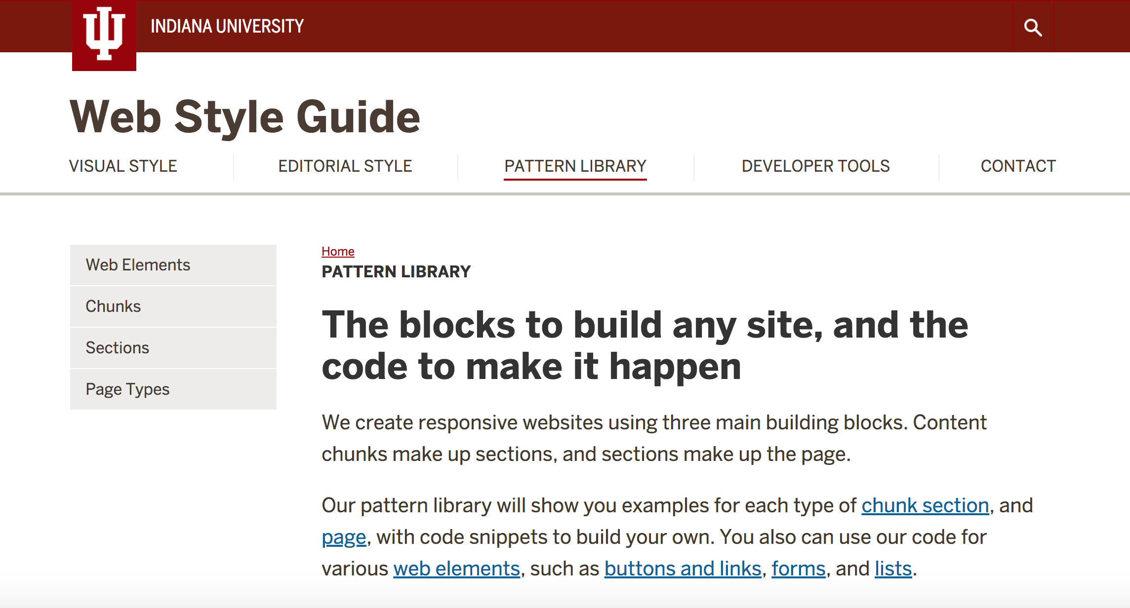 Screenshot of Indiana University website style guide