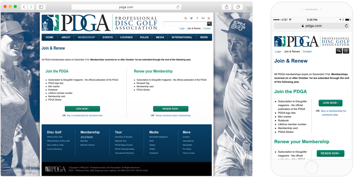 "PDGA's mobile and desktop versions of the ""Join & Renew"" page"