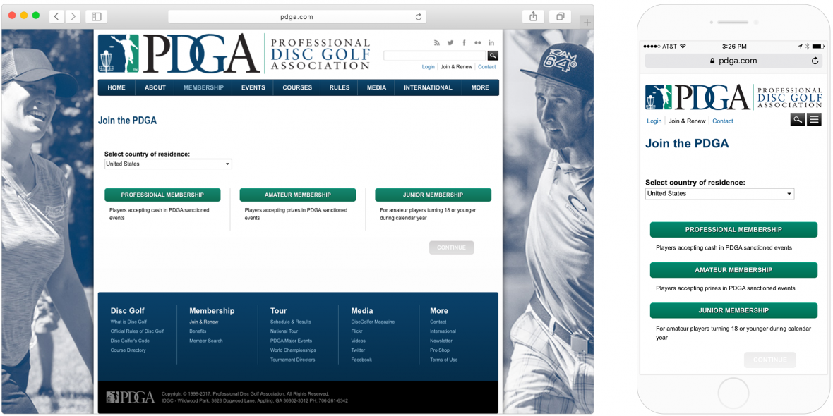 "PDGA's mobile and desktop versions of the ""choosing a membership type"" page"