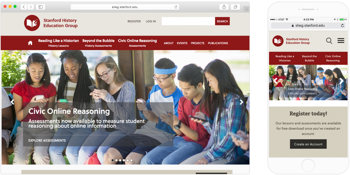 SHEG's new homepage image of a group of college students, as displayed on desktop and mobile