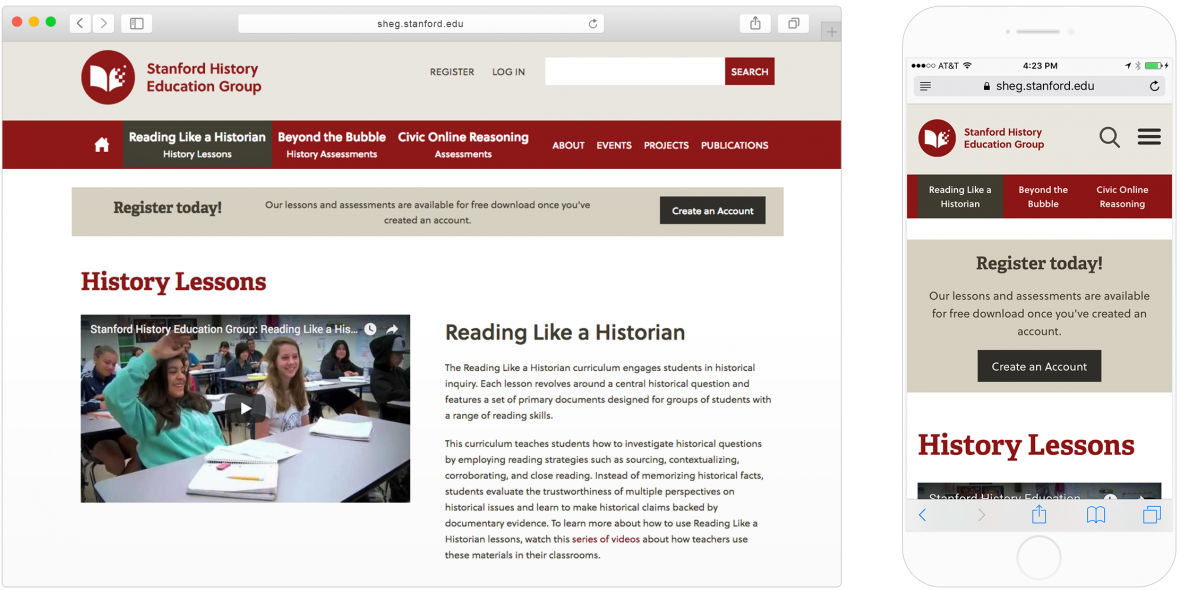 SHEG's website page of history lessons, as displayed on desktop and mobile